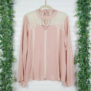 Entro Blouse Pink Lace Blush Boho Bell Sleeve Top